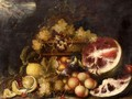 A Still Life Of Grapes In A Basket, With Lemons, Peaches, Figs And Cherries And A Watermelon - North-Italian School