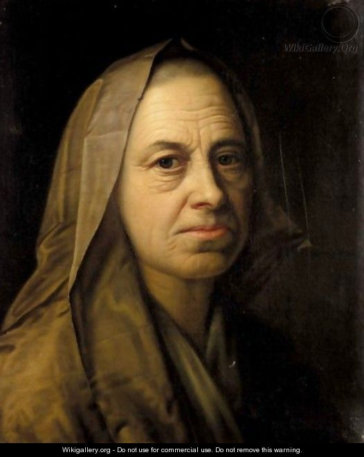 A Portrait Of An Elderly Lady, Head And Shoulders, Wearing A Headscarf - Balthasar Denner