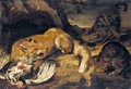 A Fox Guarding A Chicken From Two Cats - (after) Pieter De Vos