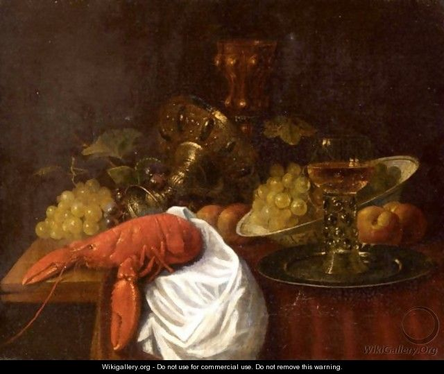 A Banketje Still Life With A Lobster, Tazza And Fruit - (after) Jan Davidsz. De Heem ...