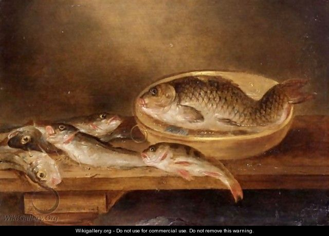 A Still Life Of Fish On A Wooden Table - Alexander Adriaenssen