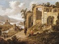 An Extensive River Landscape With Figures Resting Before Ruins - Dirck Verhaert