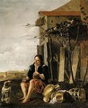 A Rustic Setting With A Boy And His Dog - (after) Jan Baptist Weenix