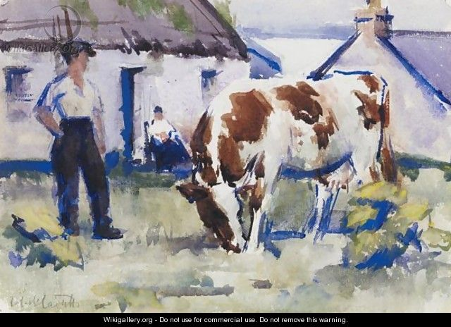 The Brown And White Cow, Iona - Francis Campbell Boileau Cadell