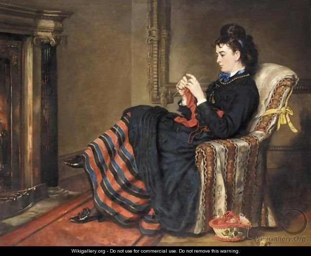 knitting a stocking sir francis grant wikigalleryorg