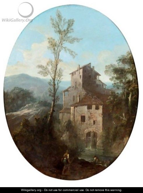 Mountainous River Landscape Wih Figures Before A House - North-Italian School
