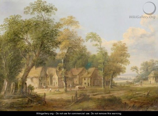 A Landscape With A Hamlet On The Edge Of A Wood, With A Family Playing Outside A House And A Drover Walking Past With A Cow - German School