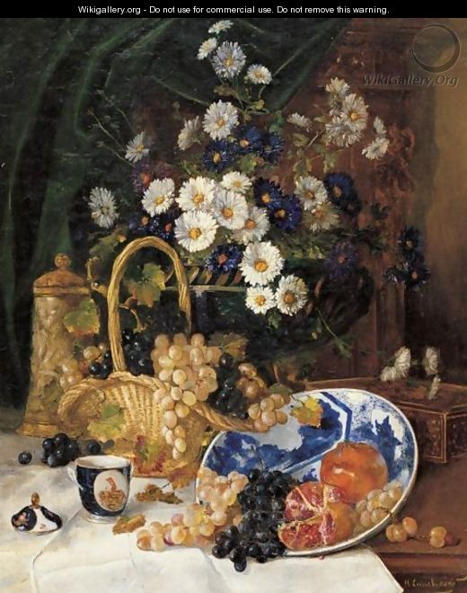 Floral Still Life With Grapes And Pomegrantes - Eugene Henri Cauchois