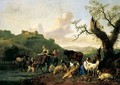 A River Landscape With Drovers And Their Animals - Hendrik Mommers