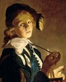 A Young Boy Holding A Pipe By Candlelight - Utrecht School