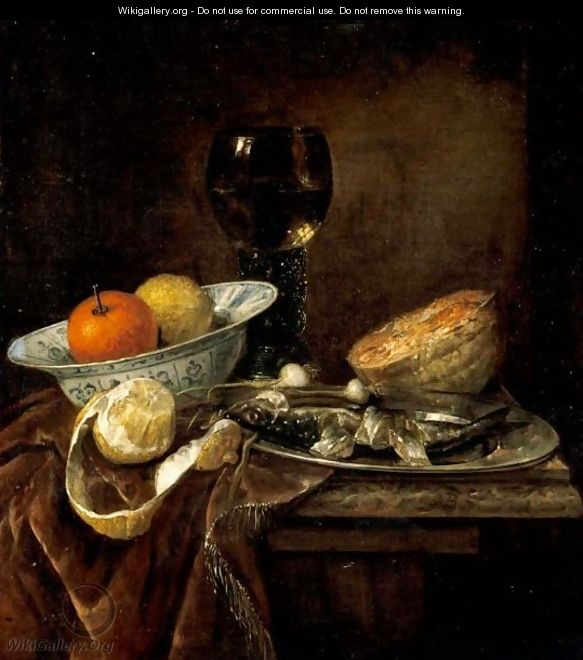 Still Life Of An Orange And A Lemon In A Porcelain Bowl, A Roemer, A Melon, A Sliced Herring On A Pewter Plate, And A Peeled Lemon Together On A Table Draped With A Velvet Cloth - Abraham Hendrickz Van Beyeren