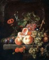 A Still Life Of Peaches, Plums, Grapes And Other Fruits On A Stone Ledge. - Cornelis De Heem
