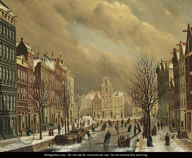 A View Of The Brouwersgracht In Amsterdam On A Winter Day - Oene Romkes De Jongh
