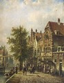 Villagers In The Streets Of A Dutch Town - Johannes Franciscus Spohler