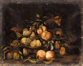 A Still Life Of A Melon, Peaches And Pears - Roman School