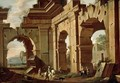 An Architectural Capriccio, With A Huntsman And Riders Among Ruined Arches - Viviano Codazzi