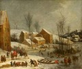 Winter Landscape With Numerous Figures Skating Near A Village - Jan Peeter Verdussen