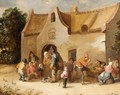 Peasants Eating, Drinking And Conversing In Front Of A Cottage - Cornelis Mahu