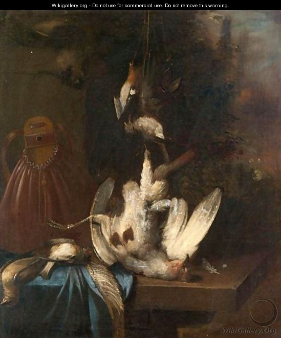 A Still Life With A Partridge, And Song Birds, Together With A Game Bag On A Ledge - Dutch School