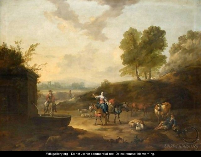 An Italianate Landscape With Drovers Watering Their Animals At A Well - J. Tillemans