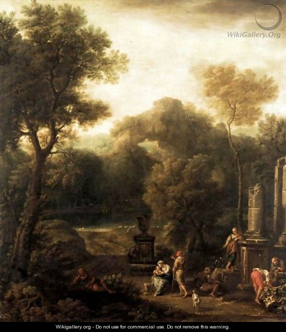 Italianate Landscape With Figures Beside Ruins - (after) Jan Frans Van Orizzonte (see Bloemen)