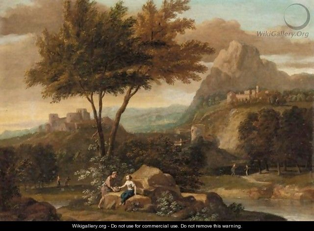 An Italianate River Landscape With A Man And A Woman Conversing In The Foreground. - (after) Aelbert Meyeringh