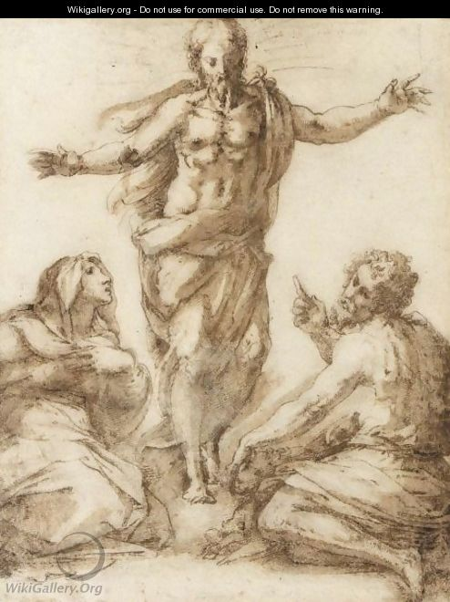 Christ Appearing Between The Madonna And St. John The Baptist - Giorgio Vasari