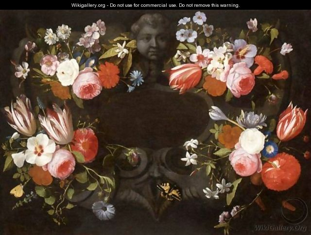 Bouquets Of Mixed Flowers Decorating A Feigned Stone Cartouche, With Butterflies - Gaspar Peeter The Elder Verbruggen