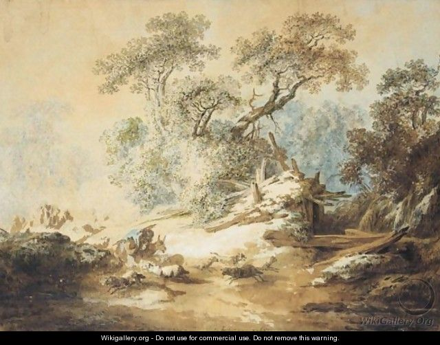 Wooded Autumn Landscape With Shepherds And Their Flock - Jean-Baptiste Huet