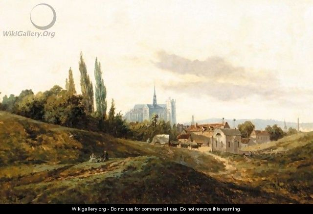 Landscape With Cathedral Beyond - Frank Buchser