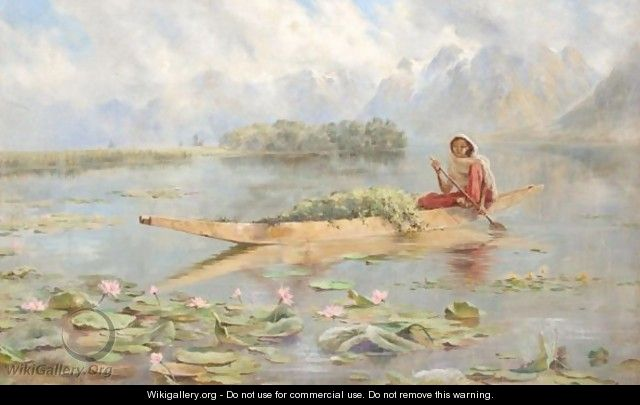 A Lake Scene In Kashmir - Major Edward Molyneux