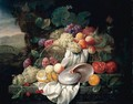 Still Life With Grapes, Plums, Apricots And A Pomegranate In A Basket, Together With Other Fruits And A Nautilus Shell On A Stone Ledge - Joris Van Son