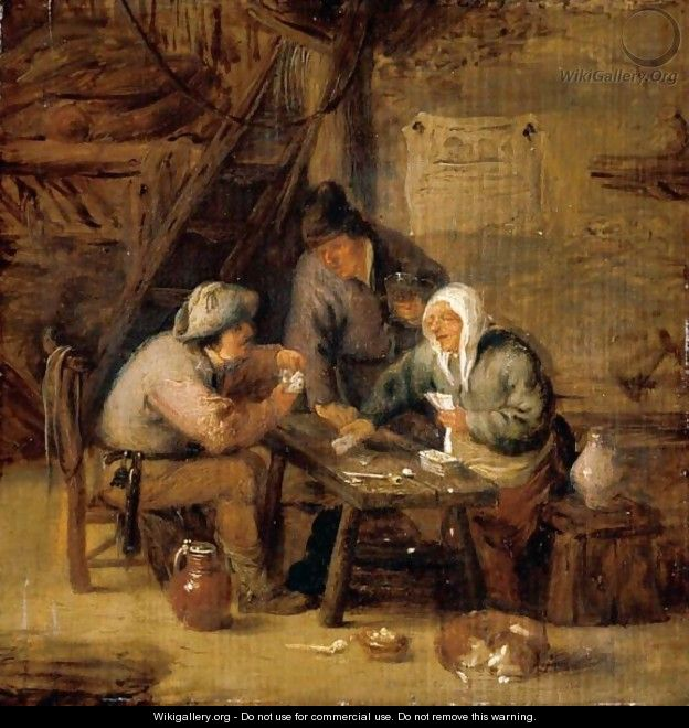 Interior With Peasants Playing Cards At A Table - Isaack Jansz. van Ostade