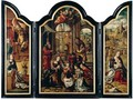 A Triptych The Adoration Of The Christ Child, Flanked By The Annunciation And The Rest On The Flight Into Egypt - (after) Pieter Coecke Van Aelst