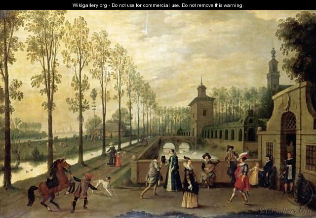 An Elegant Company Promenading Outside A Palace - (after) Sebastiaen Vrancx