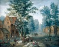 A Village Landscape With Travellers And A Horse And Cart Resting In The Foreground Before A Cottage - Joseph van Bredael