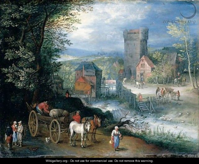 A River Landscape With A Watermill, Travellers And A Horse And Cart In The Foreground - (after) Pieter Gysels