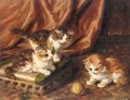 Kittens Playing With A Ball Of Wool - De Brusses