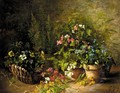 Still Life Of Flowers In Pots And A Basket - Gustave Hall