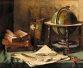 Still Life With Globe And Books On A Desk - Caroline Friedrich