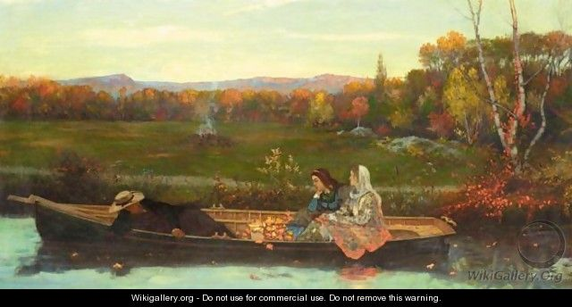 Boating At Dusk - French School