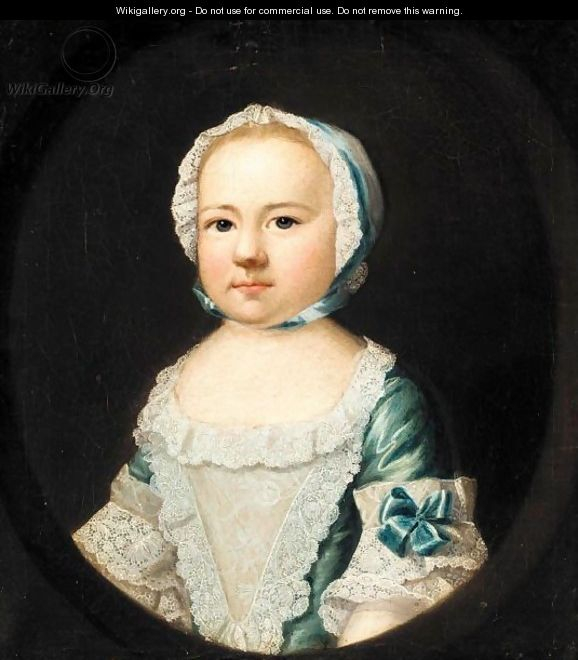 Portrait Of The Hon. Caroline Curzon, Daughter Of The 1st Baron Scarsdale, When A Child, Half Length, Wearing A Blue Silk Dress And A White Lace Cap - Josepf Wright Of Derby