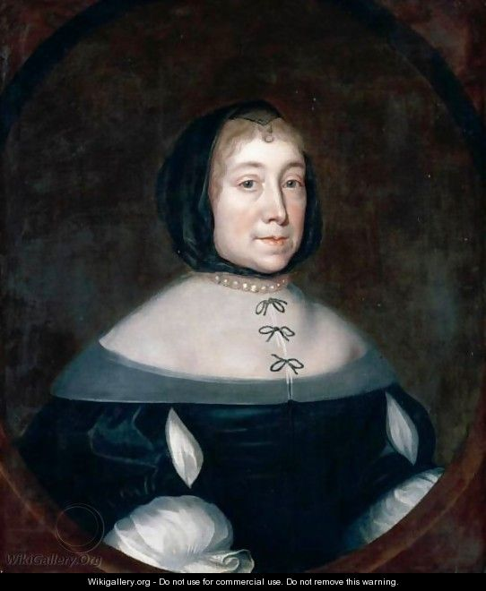 Portrait Of Theodosia, Second Wife Of Sir Richard Brawne Of Alscot, Half Length, Wearing A Black Dress With A Lawn Collar - English School
