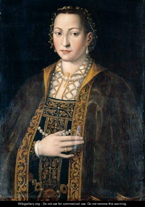 Portrait Of Eleanora Of Toledo, Grand Duchess Of Tuscany (1522-62), Half Length, In A Richly Embroidered And Bejewelled Dress - (after) Agnolo Bronzino