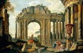 An Architectural Capriccio With Belisarius And Soldiers Among Ruins - (after) Giovanni Paolo Panini
