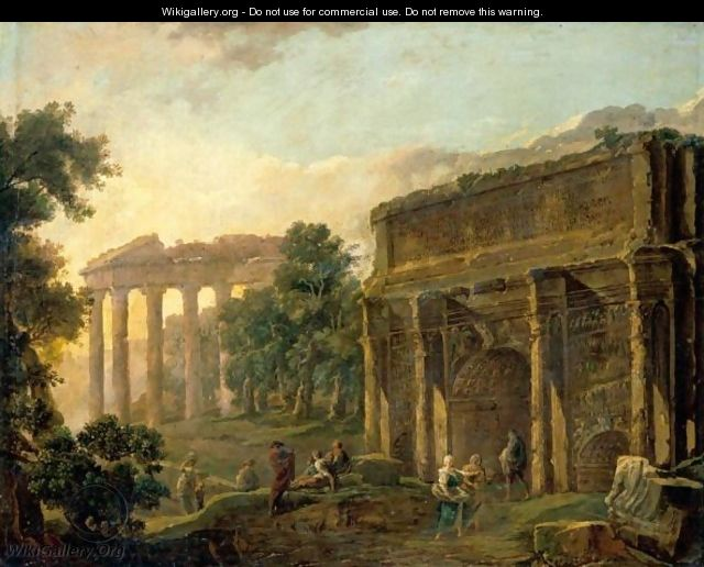 An Architectural Capriccio With Figures Among Roman Ruins - Hubert Robert