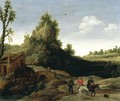 Landscape With Travellers Crossing A Bridge Before A Small Dwelling, Horsemen In The Foreground - Esaias Van De Velde