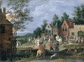 A Village Scene With Figures Dancing And Merrymaking Before A Tavern - (after) Jan The Elder Brueghel