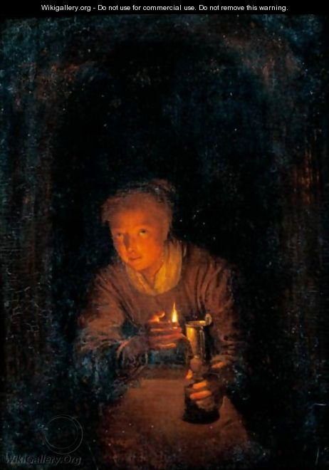 Interior With A Woman Holding A Candle - (after) Gerrit Dou