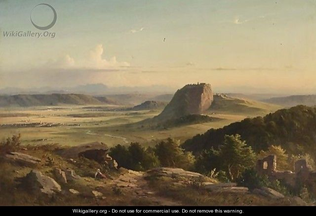 A Peasant Woman Seated, Overlooking An Extensive Mountainous Landscape. - German School